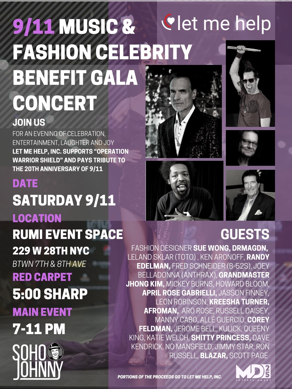 SohoJohnny's 9/11 Music & Fashion Celebrity Benefit Gala Concert 9/11/21 In NYC