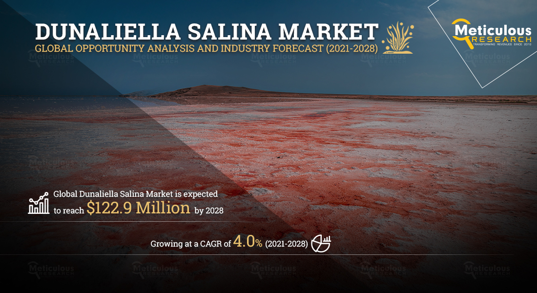 The Dunaliella Salina Market: Meticulous Research® Reveals Why the Market Is Expected to Reach $122.9 Million by 2028 at a CAGR of 4.0%%.