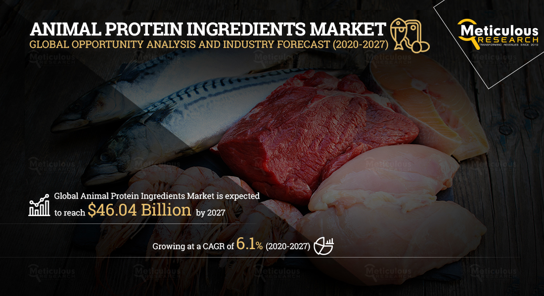 Animal Protein Ingredients Market: Meticulous Research® Reveals Why This Market is Growing at a CAGR of 6.1% to Reach $46.04 Billion by 2027
