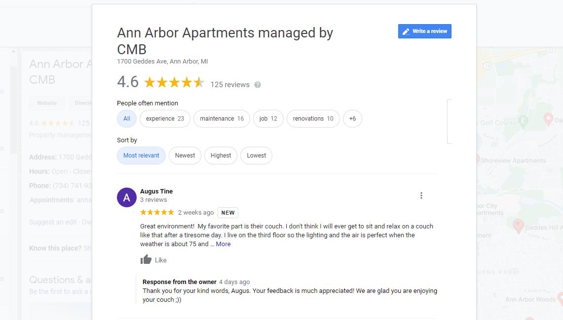Ann Arbor Apartment shares their customer reviews