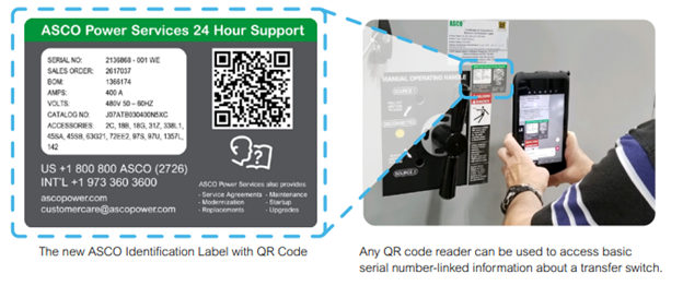 ASCO Power Technologies Streamlines Transfer Switch Management with QR Code Technology