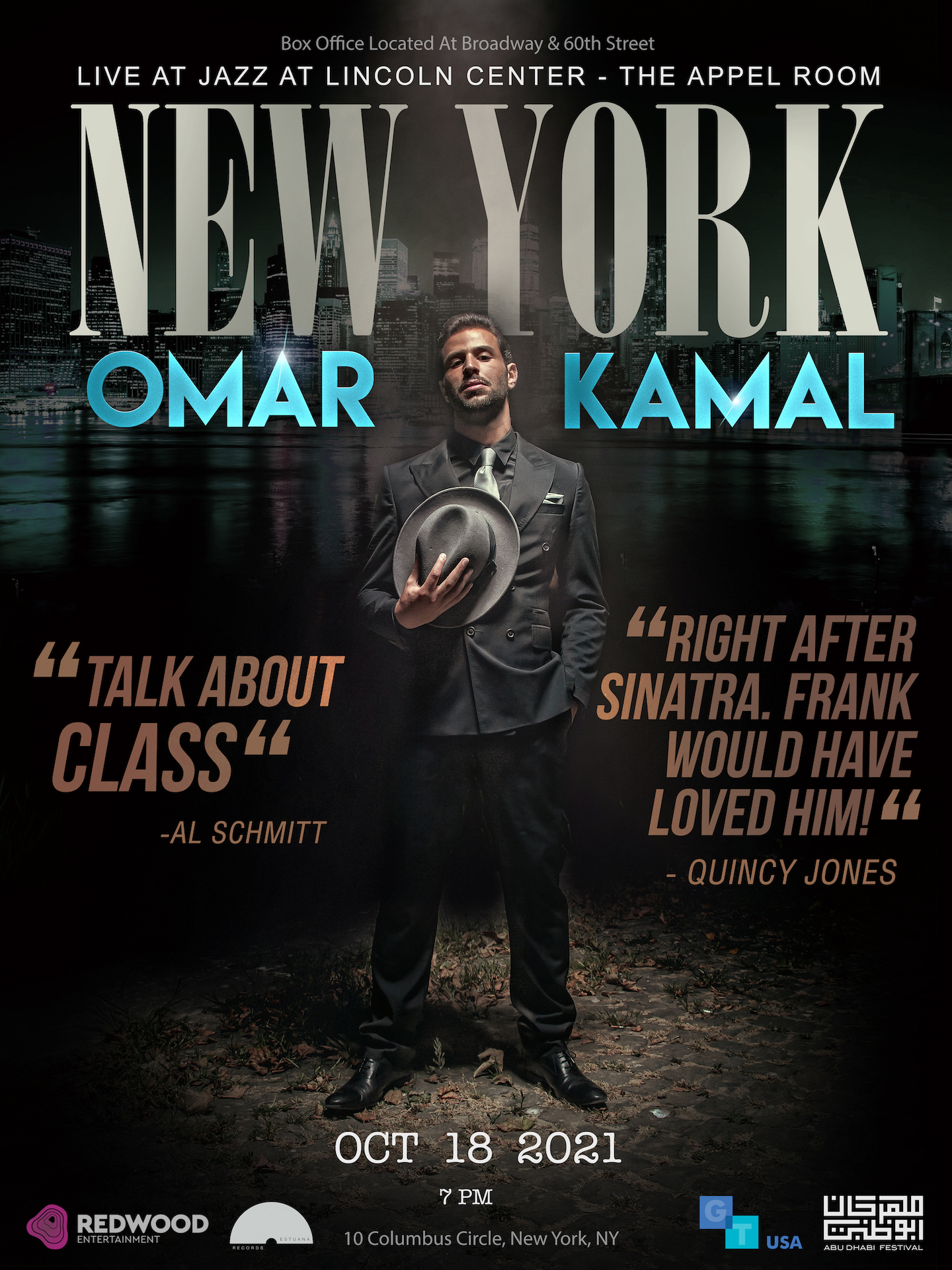 """Omar Kamal """"The Palestinian Frank Sinatra"""" To Appear At The Appel Room Live At Jazz At Lincoln Center October 18th, 2021"""