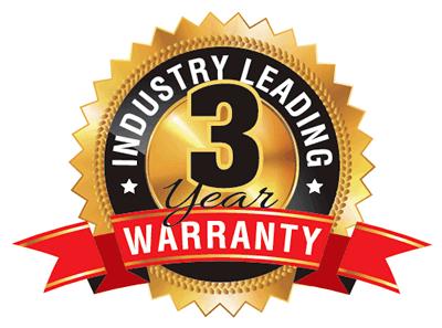 Industry Leading 3 Year Warranty
