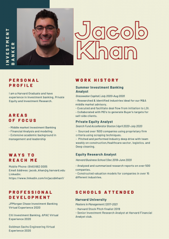 Jacob Khan infographic resume